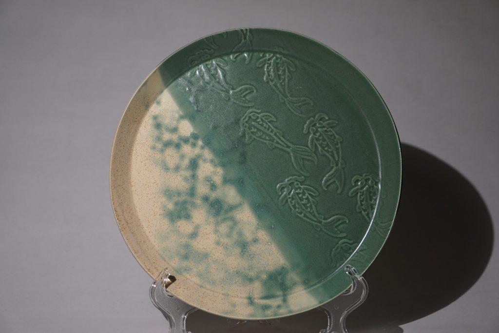 "Teal koi fish 10"" plate."