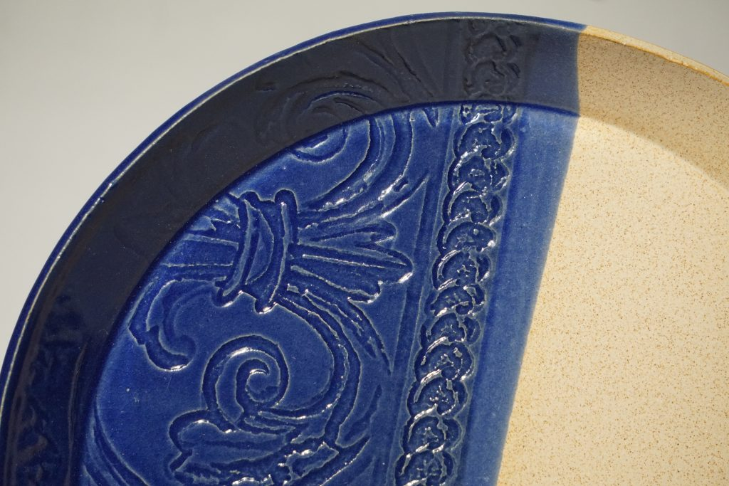 """Impressed plate 8"""" - sapphire and speckles."""