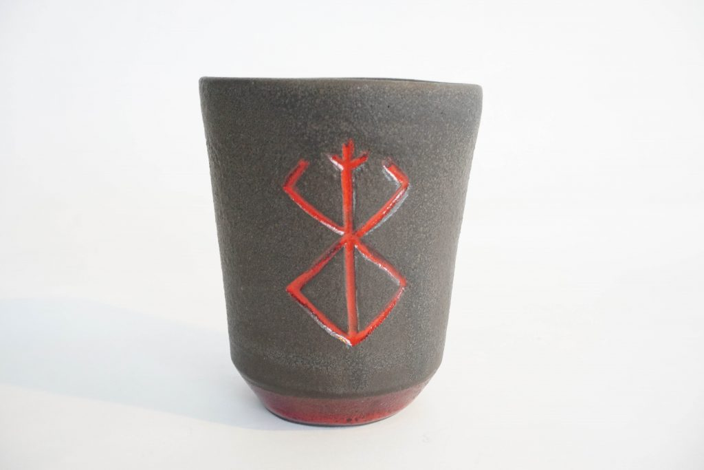 "Berserk ""Brand of Sacrifice"" cup. Red and matte black."