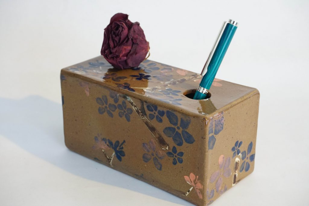 Cherry blossom stenciled box with mocha diffusion accents.
